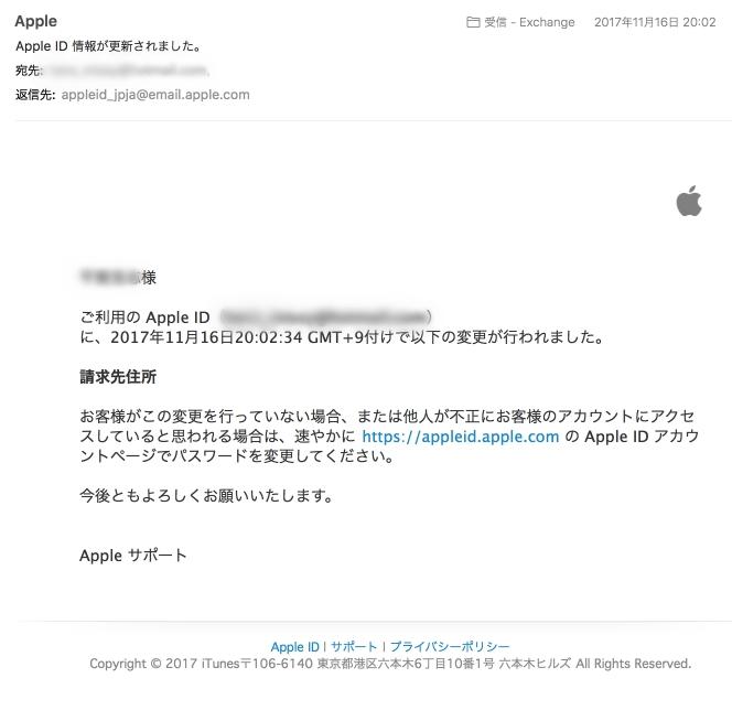アップルからの正規のメール